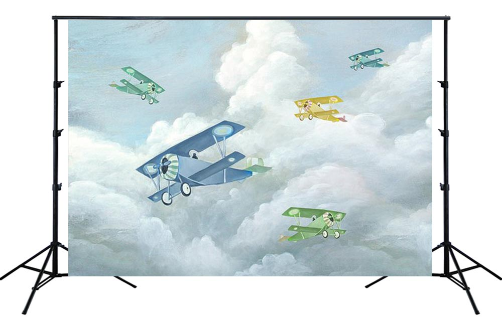 gray sky clouds old airplane Backdrop aircraft boy birthday party wall decor Photo background newborn baby photo studio SM-435 image