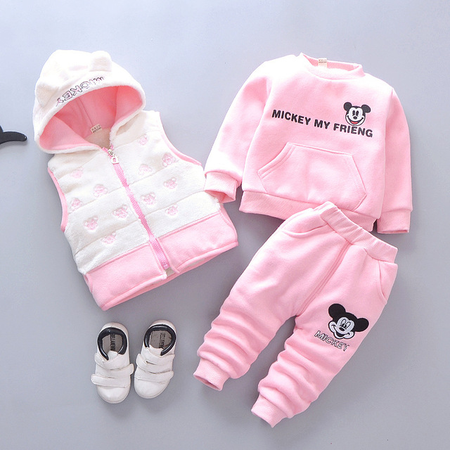 2019 Baby Girl Clothes Snow Warm Children Suits Casual Baby Boy Clothing Sets Jacket+sweatshirts+sports Pants Winter Kids Set 1
