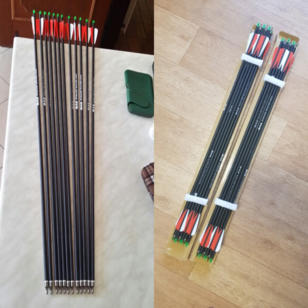 Arrowhead-Tips Carbon-Arrow Bow Archery Spine 500 Compound/recurve Nocks Adjustable Length