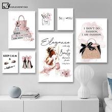 Póster de arte moderno para salón de belleza, pintura de pared rosa de lujo con bolsa de tacón alto, lienzo impreso, decoración de habitación de niñas, imagen creativa