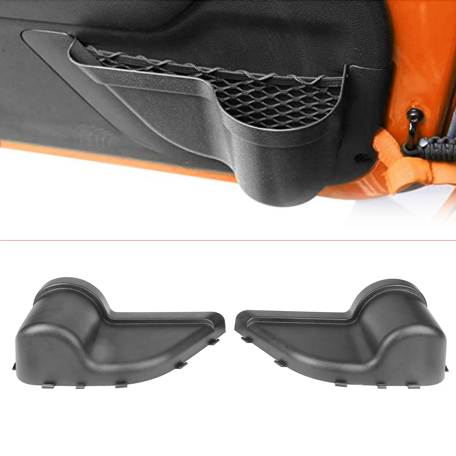 1 Pair Car Interior Accessories Front Door Pockets Storage Inserts Side Organizer Box For Jeep Wrangler JK JKU T8WF Clearance