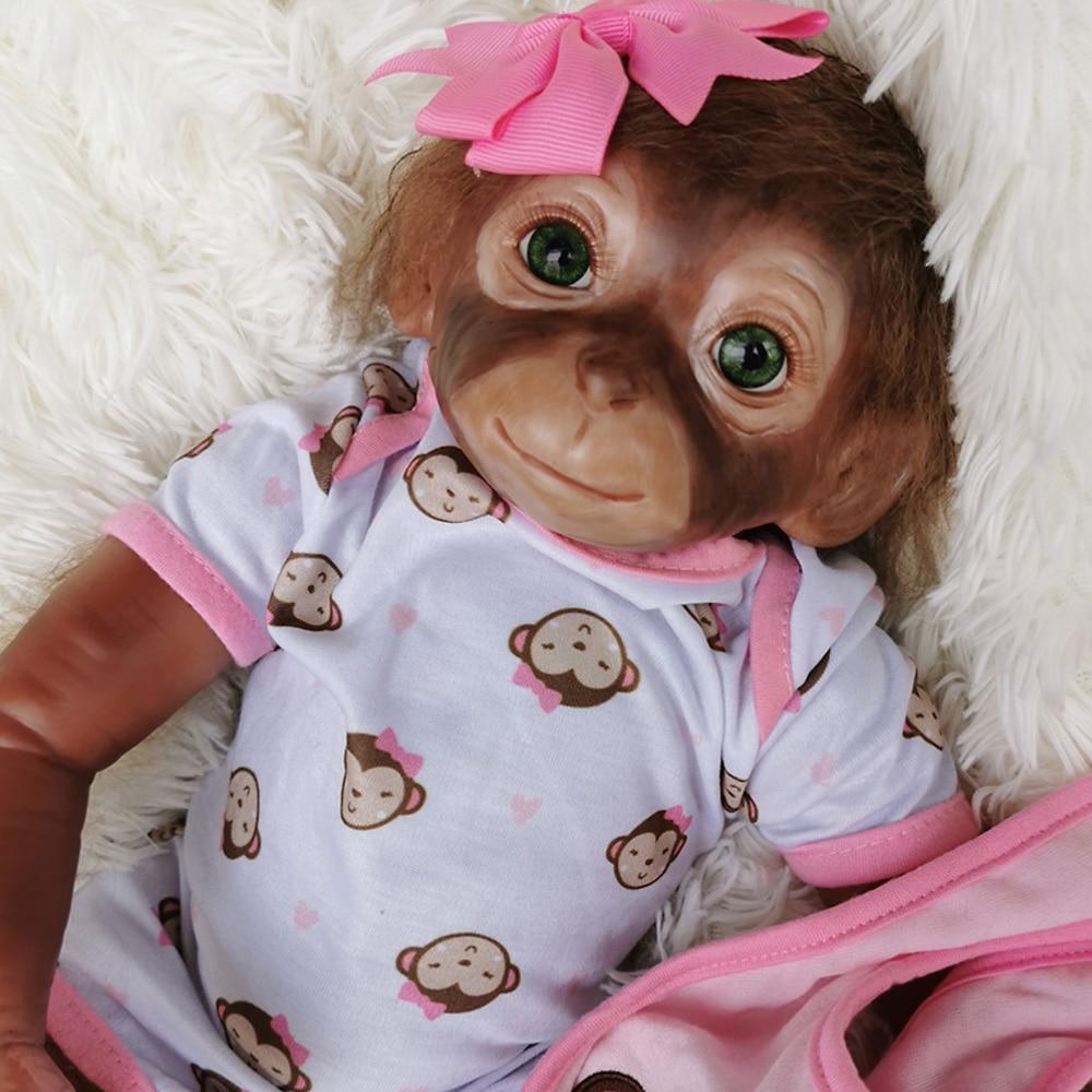 Nouveau 50CM fait à la main peinture détaillée reborn bébé singe nouveau-né bébé à collectionner silicone vinyle singes poupées jouets cadeau