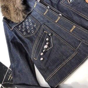 Image 2 - L160 collo in Visone giacca di jeans rivetto industria pesante di inverno versione più alto