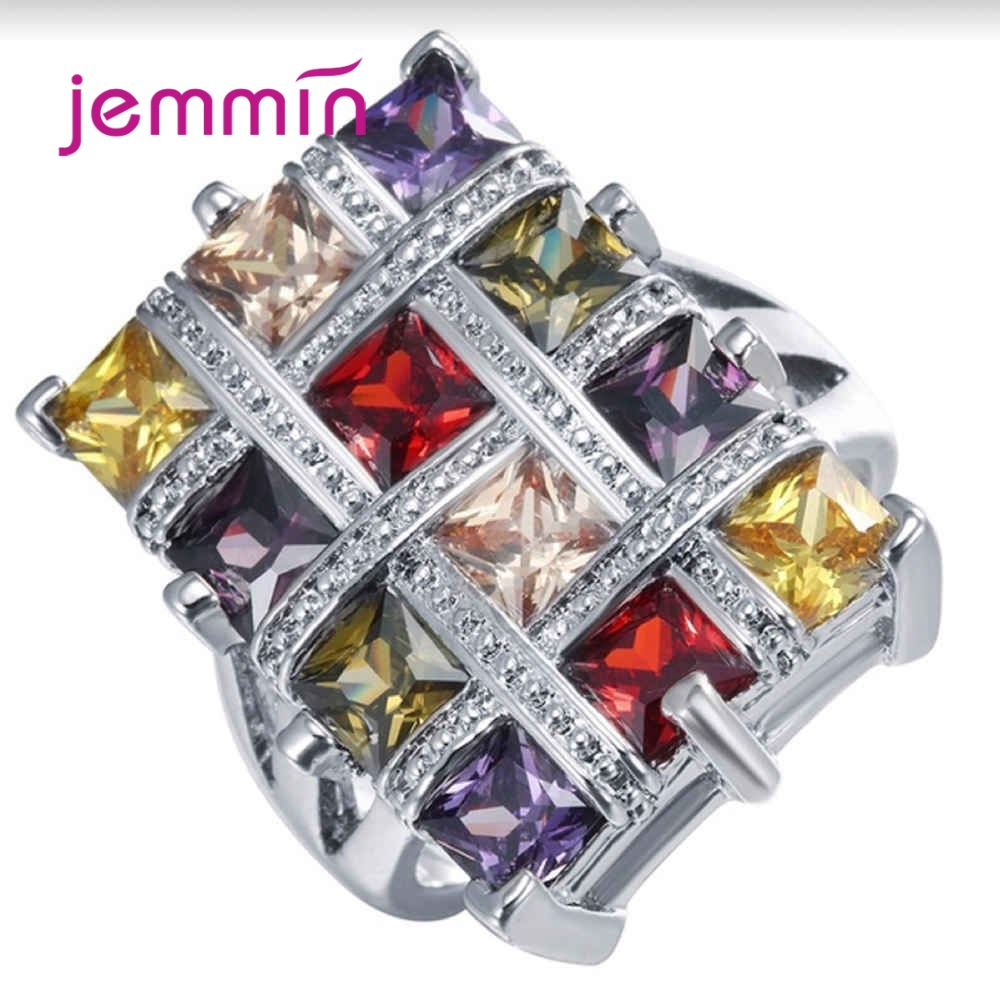 Women New Colorful Stone Rhinestone CZ Rings Pure 925 Sterling Silver Luxury Ring New Fashion Luxury Wide Finger Ring Dropship