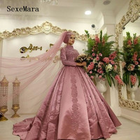 Dust Pink Arabic Muslim Wedding Dress High Neck Long Sleeves Lace Appliques Satin Bridal Gowns Custom Made Real Pictures