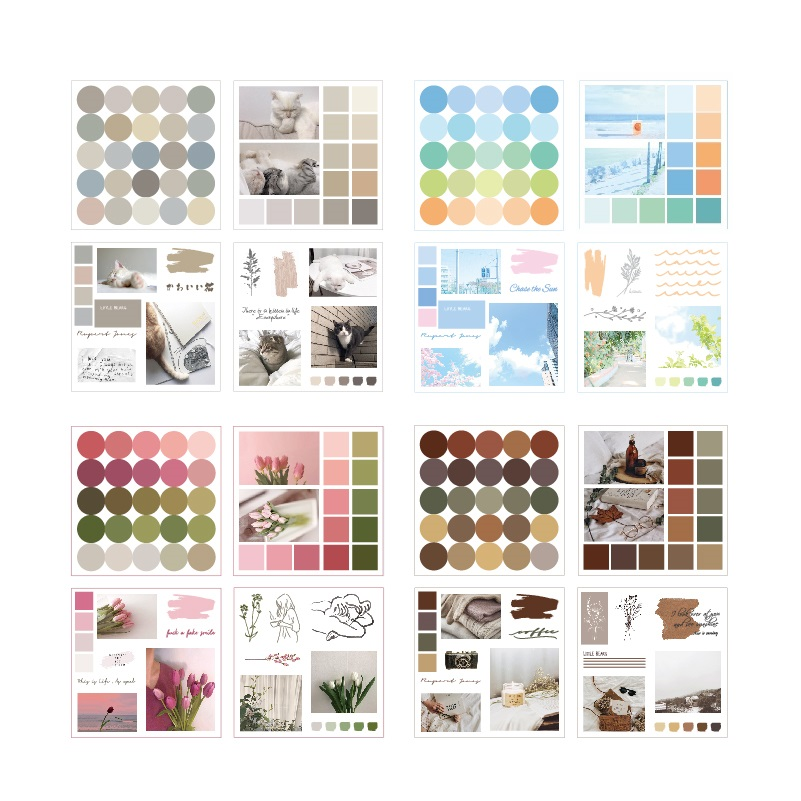 4sheets INS Collage Stickers Set Vintage Color Dots Pink Flower Blue Summer Cat Stickers Decoration Adhesive Home DIY Art A6812