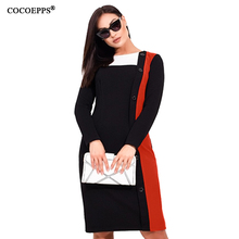 COCOEPPS Women vestidos Plus Size Autumn Winter dress women Big Elegant Party Casual Female dresses Office Lady Work Wear