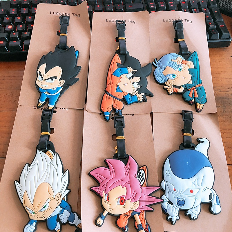 Dragon Ball cartoon PVC Keychain Vegeta Son Goku fashion soft rubber luggage tag boarding pass bag tags hanging ornaments bags