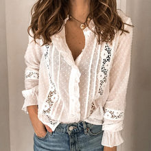 Vrouwen Hollow Out Office Lady Zomer Shirts Lace Lange Mouwen Vintage Vrouwelijke Wit Shirt 2020 Fashion Casual Button Dames tops(China)
