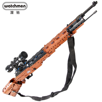CaDA Bricks MOC Gun Toy 98K Rifle WW2 Weapon with Pistons DIY Building Blocks Construction Models 2020pcs alien building blocks diy bricks toy