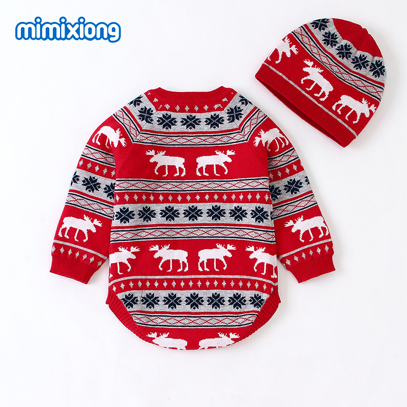 mimixiong Baby Christmas Sweater Romper Knitted Reindeer Jumpsuit Outfits