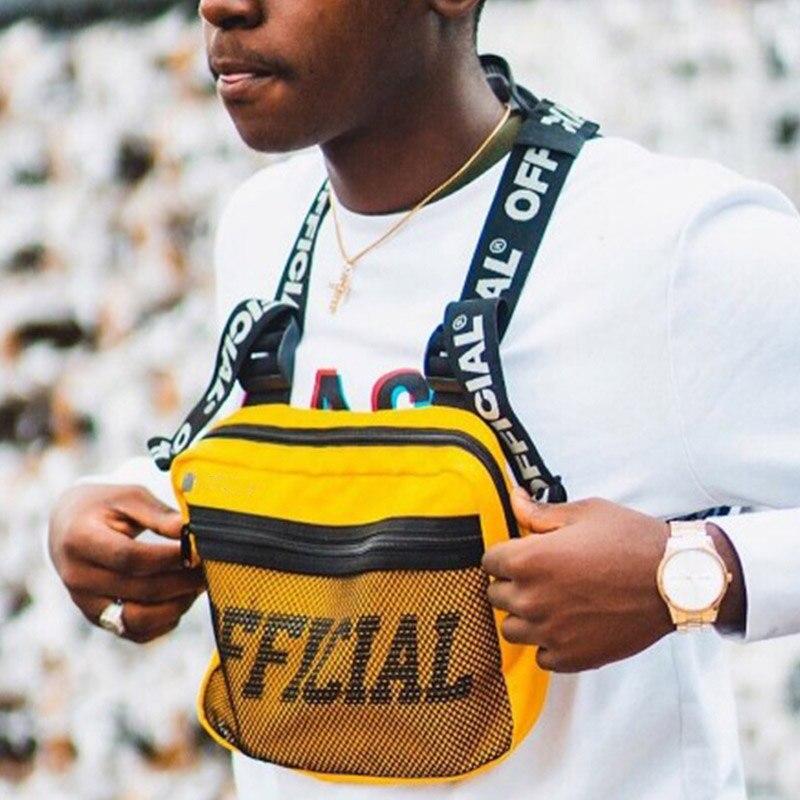 Men Tactical Vest Belt Bag Male Tactical Pouch Canvas Waistcoat Packs Streetwear Hip-hop Vest Men Chest Bag Boy Travel Bags