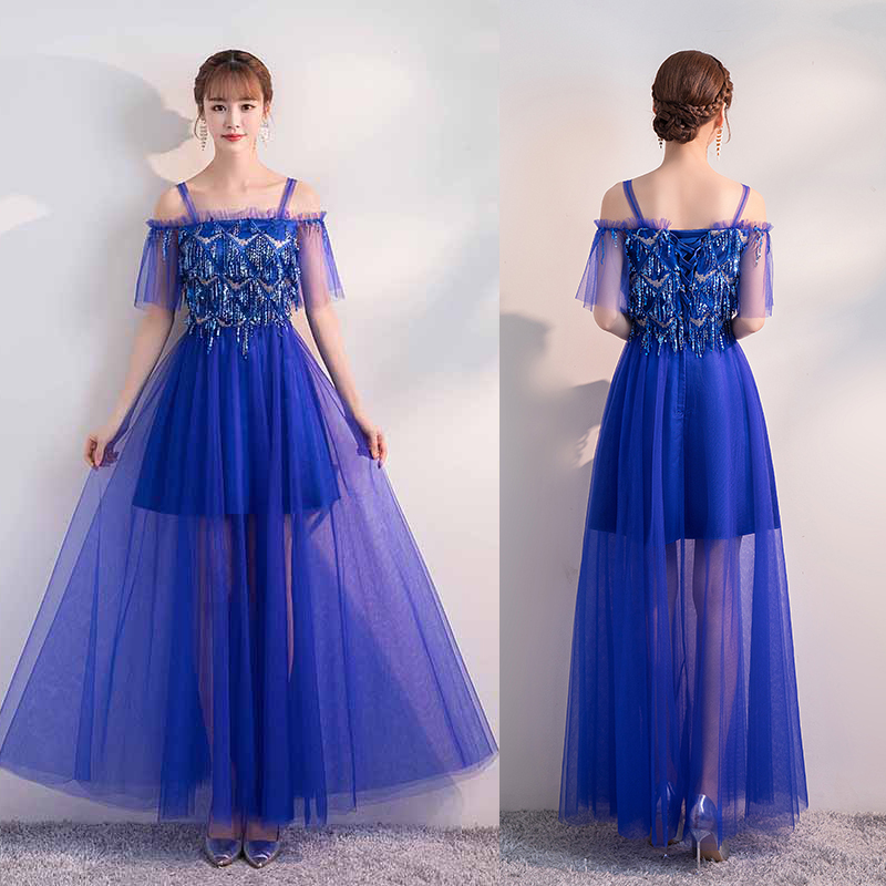 Royal Blue Bridesmaid Dress Elegant Wedding Party Sequined Tulle Illusion Sister Prom Dress Red Vestido Ladies Long Gowns Black