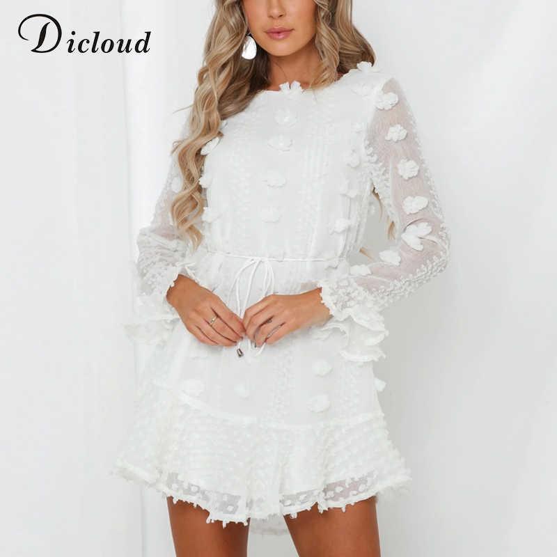 DICLOUD Sexy Pom Poms Women Black White Party Dresses 2020 Spring Winter Long Sleeve Boho A Line Ruffle Dress With Waist Tie
