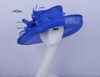 2019 Royal blue big brim Ladies formal dress hat Sinamay Hat fascinator Kentucky Derby hat with Feathers flower for races church