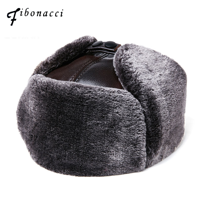 Fibonacci Men's Hat Winter Cowhide Leather Brand Quality Genuine Leather Fur Hat Pom Ear Protect Bomber Hats Russian Ushanka Cap title=