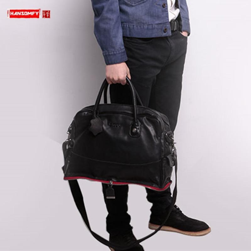 Men's First Layer Cowhide Leather Handbag Shoulder Messenger Bag Laptop Briefcase Leisure Travel Bag Crossbody Men Computer Bags