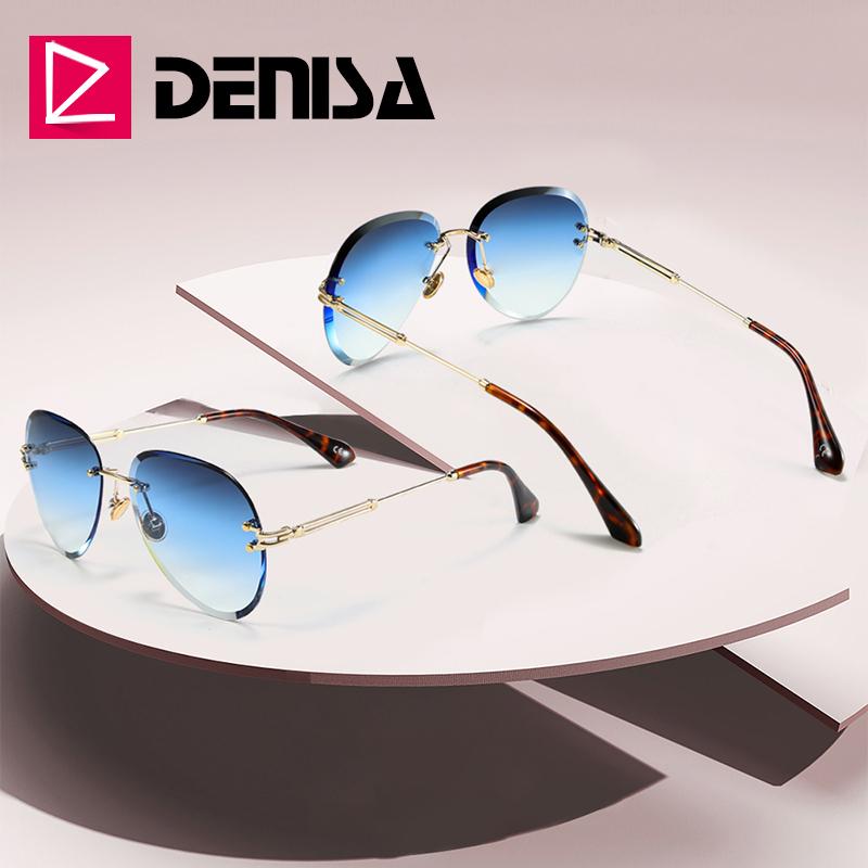 DENISA Fashion Blue Rimless Sunglasses Women 2019 UV400 Luxury Aviation Ladies Sunglasses Glasses Shades zonnebril dames G18475