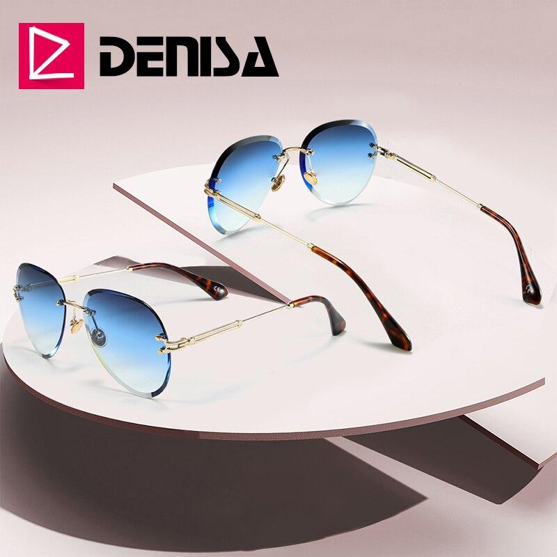 DENISA mode bleu sans monture lunettes de soleil femmes 2019 UV400 luxe Aviation dames lunettes de soleil lunettes zonnebril dames G18475