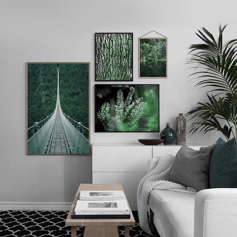 Grüngoild Blätter Abstrakt Form Leinen Malerei Zuhause Wohnzimmer Wand Art Dekor