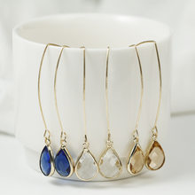 New Simple Yellow/White/Blue Crystal Water Drop Earrings for Women Wedding Party Long Dangle Earring Fashion Jewelry(China)
