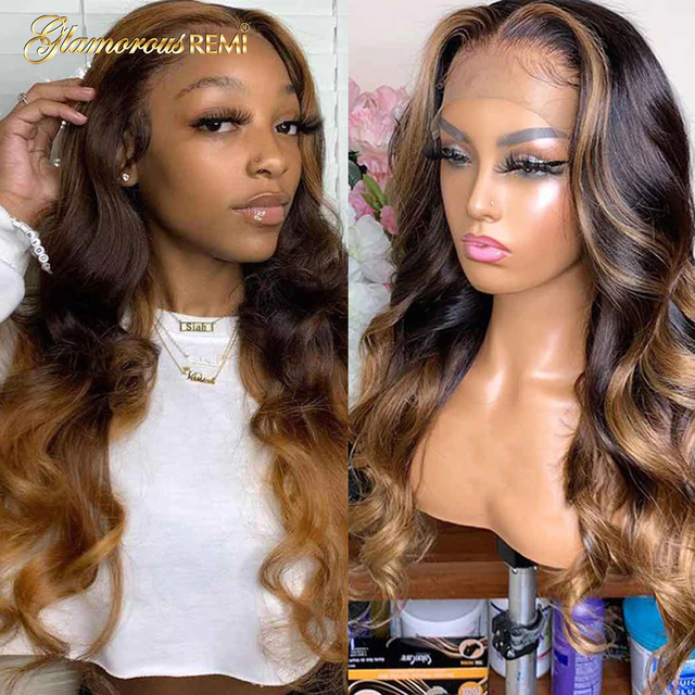 $ US $57.34 Colored Human Hair Wigs Black Women 13*4 Honey Blonde Highlighted Wigs Long Body Wave Remy Preplucked Ombre Brown Lace Front Wig