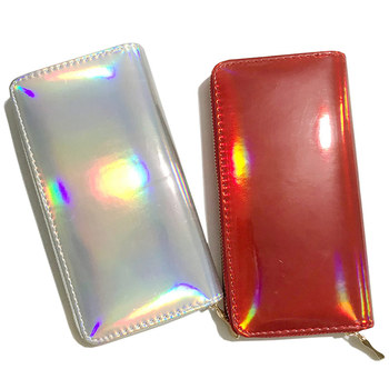 New Laser Holographic Wallet Women Long Purse Card Holder Female Clutch Wallets Purses Portfel Zip Phone Pocket Carteira