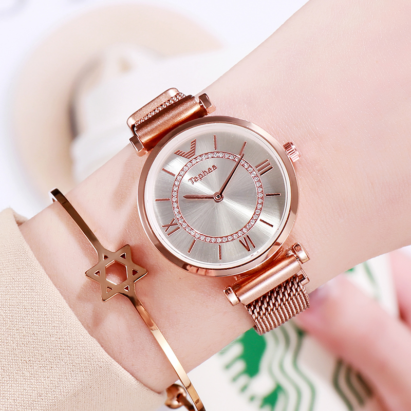 Rose Gold Women Watches Luxury Minimalism Starry Sky Magnetic Fashion Casual Female Wristwatch Waterproof Rhinestone For Gift
