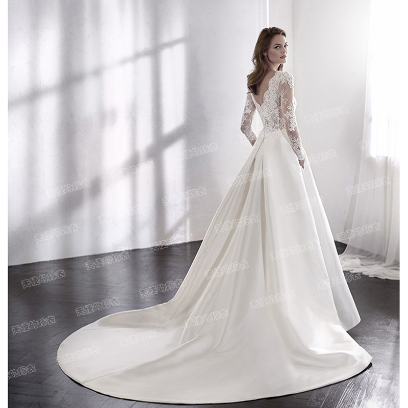 Wedding Dresses 2021 Mrs Win Elegant Full Sleeve Court Train Vestido De Noiva A-line Princess Luxury Light Wedding Dress