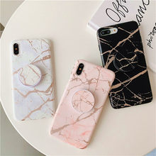 case For samsung galaxy s20 ultra s10 s9 s8 plus A71 51 41 30S 50 70 40 note 10 pro 9 8 cover gilding marble holder soft silicon(China)