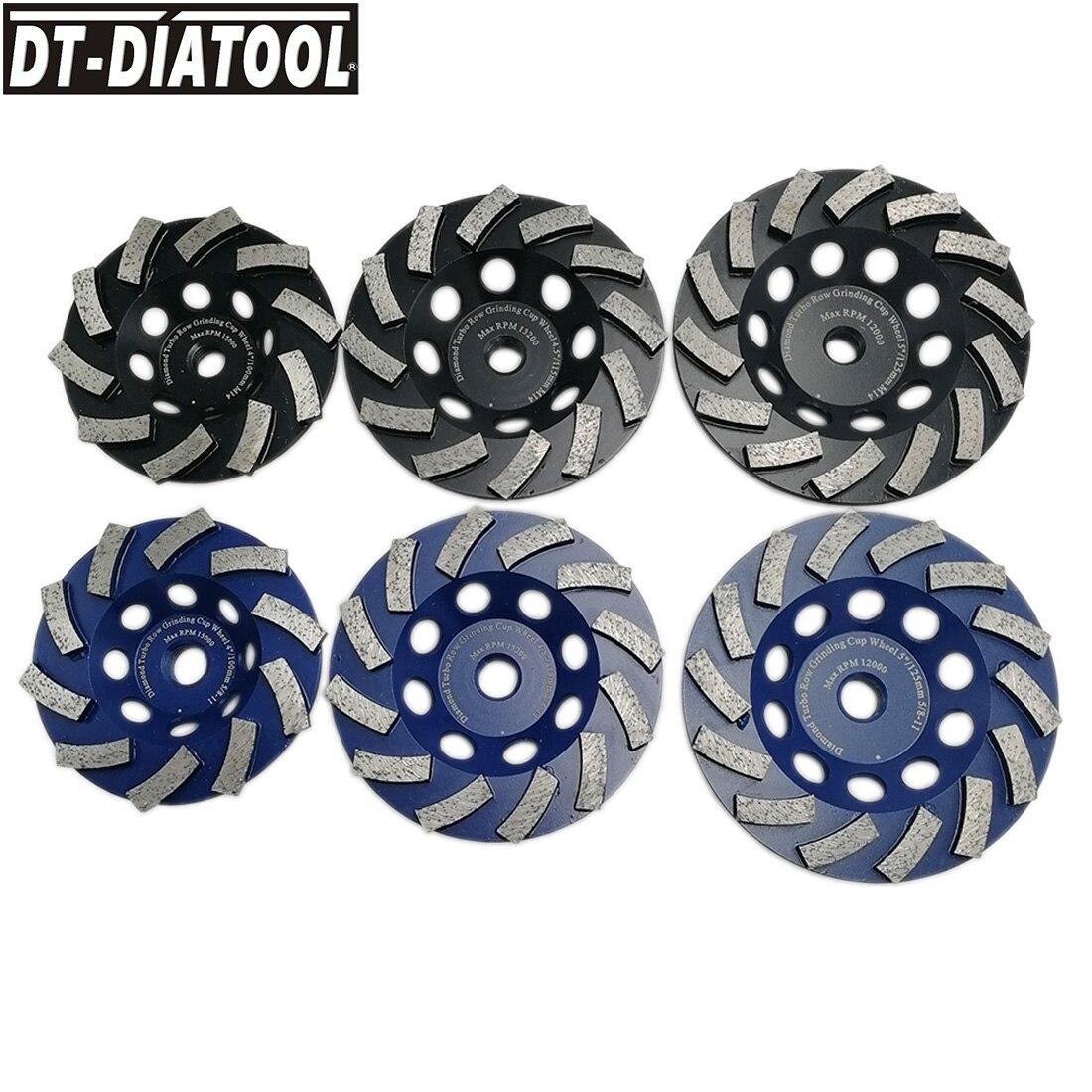 "DT-DIATOOL 2pcs/pk Dia4""/4.5""/5""/7"" Diamond Segmented Turbo Cup Grinding Wheel M14 or 5/8-11 Thread For Granite Marble Concrete"