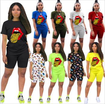 Letters Print Women Short Two Piece Set Top Shorts Set Summer Tracksuit Streetwear Sweat Suit Women Set Casual 2 Pieces Outfits heyoungirl casual patchowrk two pieces tracksuit women summer crop top and sweat shorts outfits ladies letter print matching set
