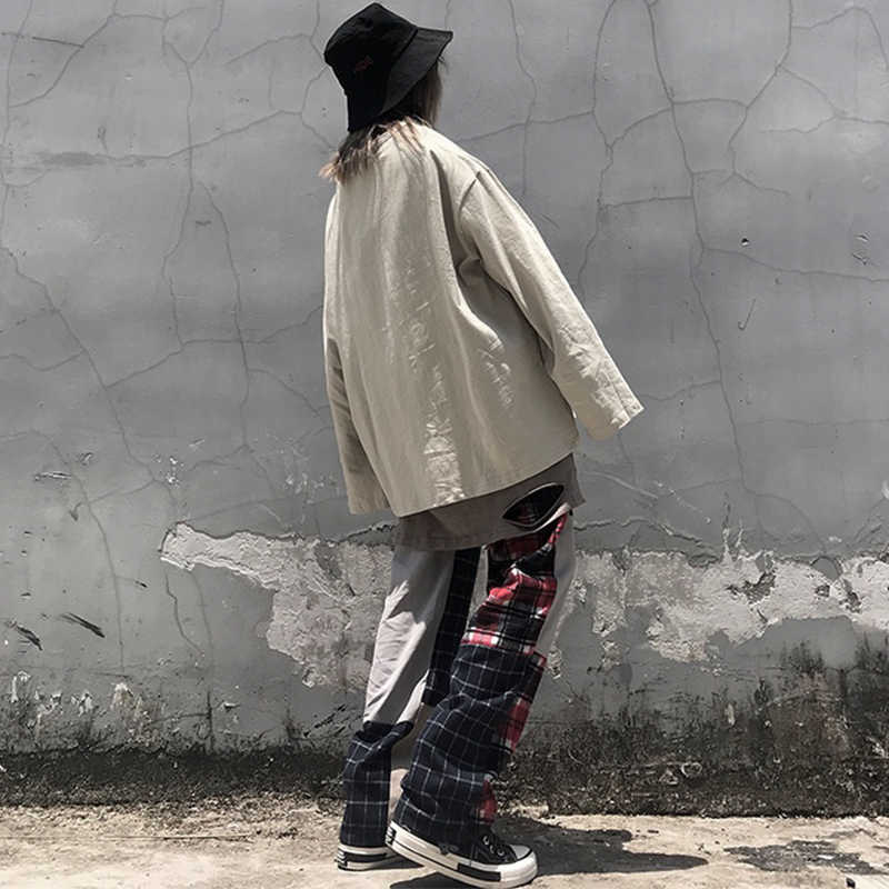 Vintage Betaald Patchwork Broek Harajuku Vrouw Man Broek Elastiek Hoge Taille Broek Koreaanse Causale Rechte Broek pantalones punk