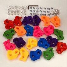 10Pcs Mixed Farbe Kunststoff Kinder Kinder Klettern Holz Wand Steine Hand Füße Hält Grip Kits W/Schrauben zufällige Farbe