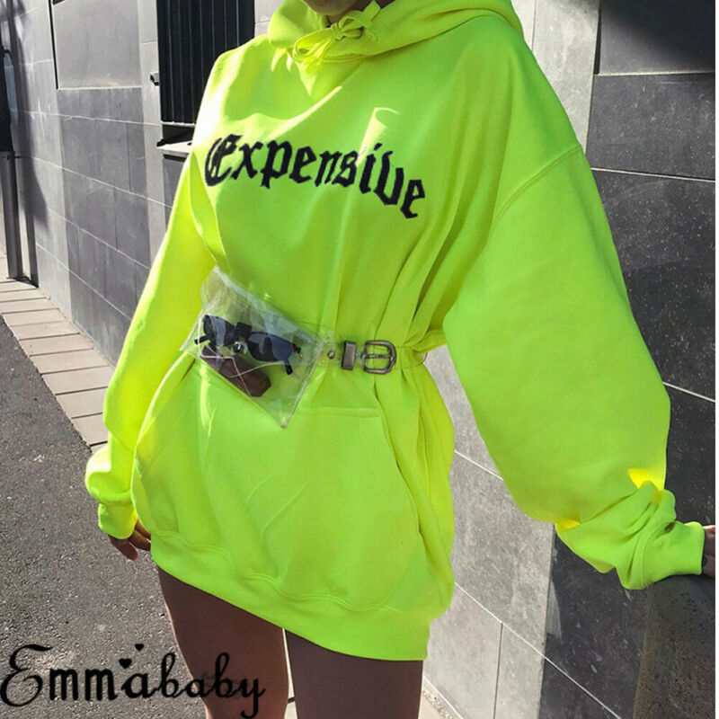 Long Hoodie Sweatshirt Letter Loose Printed Fluorescent-Color Fashion Women's Pullover title=