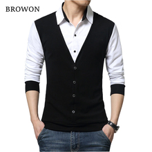 BROWON Brand Autumn Mens T Shirts Fashion 2021 Fake Two Designer Clothing Cool T-shirt Men Long Sleeve T Shirt Casual Male