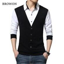 BROWONฤดูใบไม้ร่วงMens Tเสื้อแฟชั่น2020ปลอมสองDesigner Coolเสื้อยืดผู้ชายแขนยาวเสื้อลำลองชาย