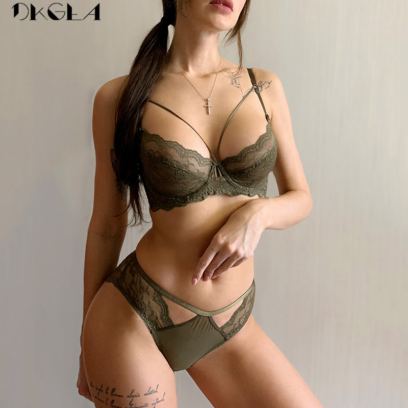 Green Bra And Panties Sets Ultrathin Brassiere Sexy Underwear Set Transparent Bras Plus Size Women Lace Lingerie Set Embroidery
