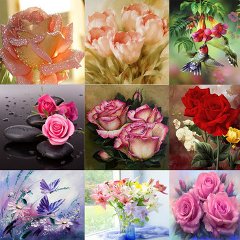 DPF 5D Diy diamond painting round full diamond flower embroidery cross stitch kit mosic home decoration gift image