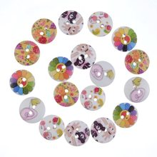 Free Shipping Retail 50Pcs Random Mixed 2 Holes Round Cartoon Animal Pattern Wood Sewing Baby Buttons Scrapbooking 15mm F0894 wholesale 50pcs random mixed decorative buttons lovely conveyance 2 holes mixed sewing wooden buttons flatblck scrapbooking