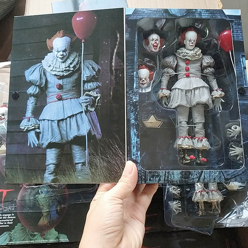 In Stock Original NECA Stephen King It Pennywise Joker Action Figure Toy Doll Horror Gift For Halloween