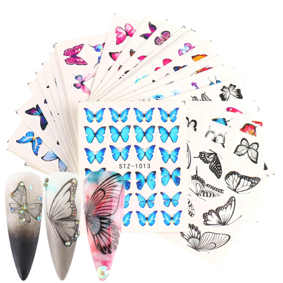 30pc/12pc Set Sticker on Nails Flower Butterfly Water Transfer Decal Anime Leaf Foil Manicure Nail Design Slider NFSTZ982-1017