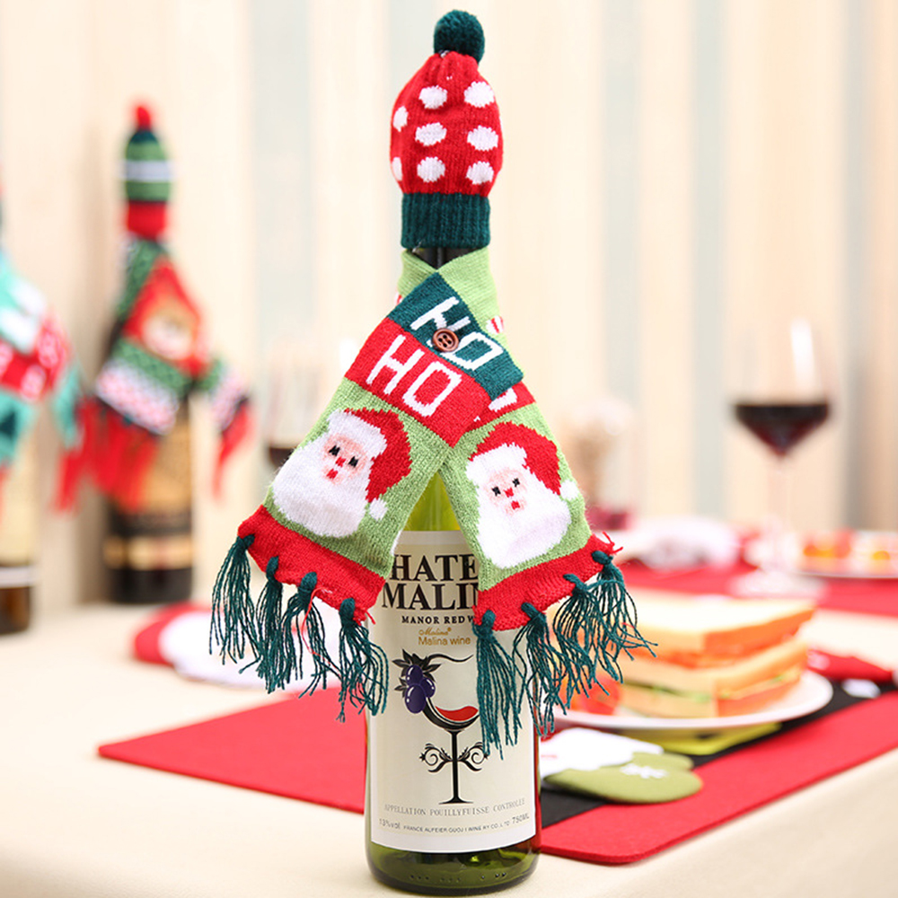 Christmas Bottle Decoration Knit Scarf Hat Set Red Wine 3 Colors Optional