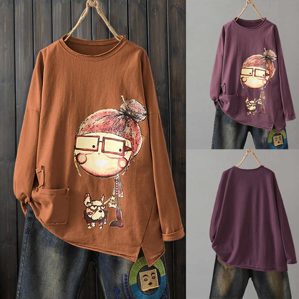 Áo Nữ Tay Dài Nam Vải Lanh Cotton Cổ Tròn In Áo Áo Thun Poleras Camiseta Top Nữ Bông Tai Kẹp Áo Camisas