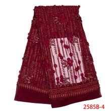 Najnowsze nigeryjskie koronki ręcznie robione koraliki koronki tkaniny wysokiej jakości koronki z kryształkami tkaniny na wesele francuski koronki tiul APW2585B