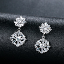 Luxury  New Gold Color Drop Long Earrings Wholesale Crystal Jewelry Brincos with AAA Cubic Zircon