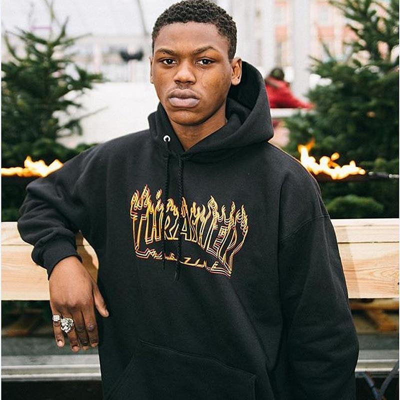 Popular Brand MEN'S Hoodie Europe And America INS Hip Hop Online Celebrity Flash Beat Thrasher Phantom Flame Plus Velvet Hoodie