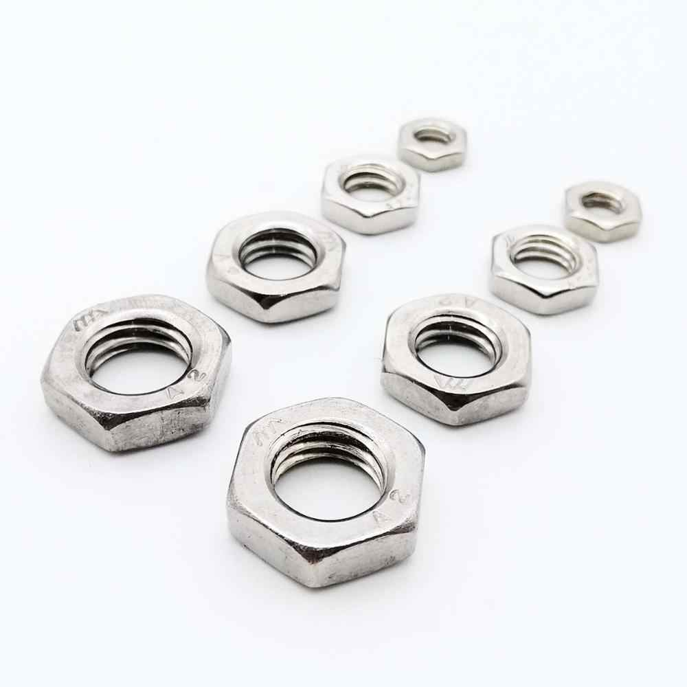 2/25pcs M2.5 M3 M4 M5 M6 M8 M10 M12 M14 M16 304 A2-70 Stainless Steel Flat Hex Hexagon Thin Nut Jam Nut DIN439 GB6172