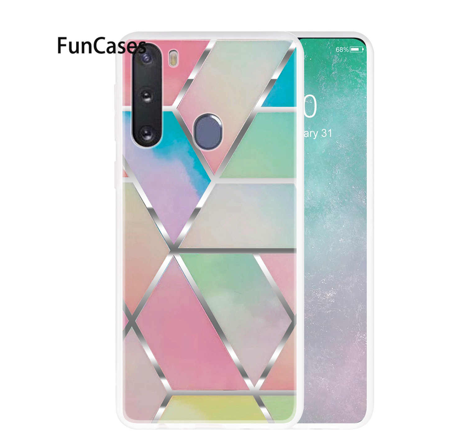 Mobile Cases For Samsung J4 Plus Stone Pattern Galaxy J4 + A91 A21 A01 A10S A70 A11 A10 A71 A81 A20E J6 2018 Soft TPU Cover