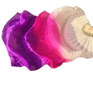 Image 5 - Children Adults  Hand Made Real Silk Veils Bamboo Flame Belly Dance Long Folding Fan Veil Art Colorful Purple Pink 120cm 180cm